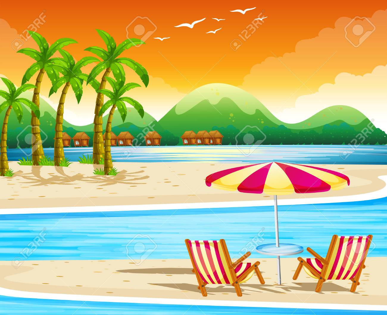 Beach scene with chairs and umbrella illustration.