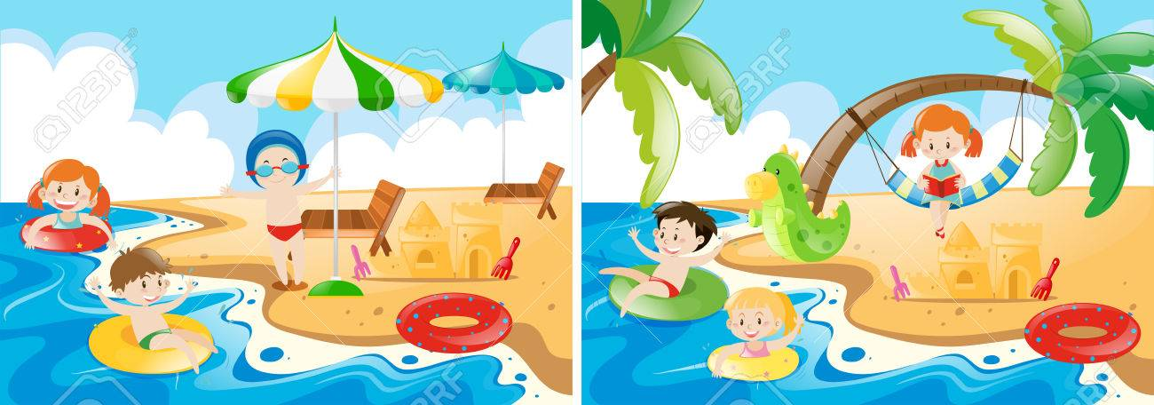 Beach scenes with kids playing illustration.