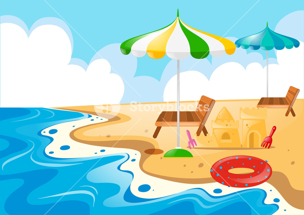 Beach scene with chairs and umbrellas illustration Royalty.