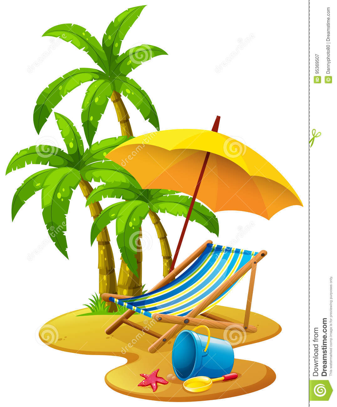 Beach Scene With Chair And Umbrella Stock Vector.