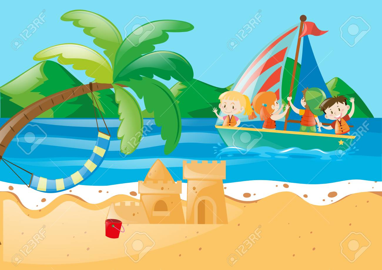 Beach scene with kids on the sailboat illustration.