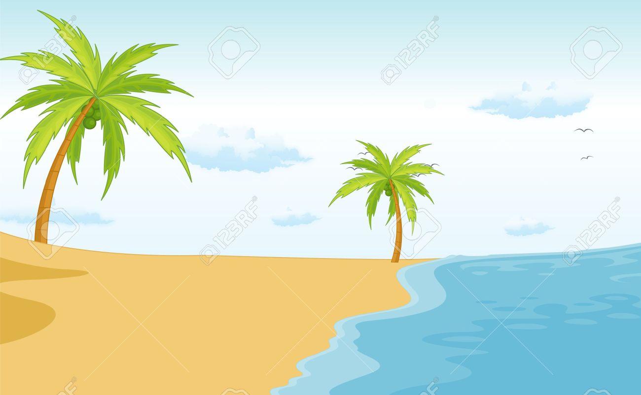 Illustration of an empty beach scene.