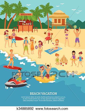 Beach scene flat Clipart.
