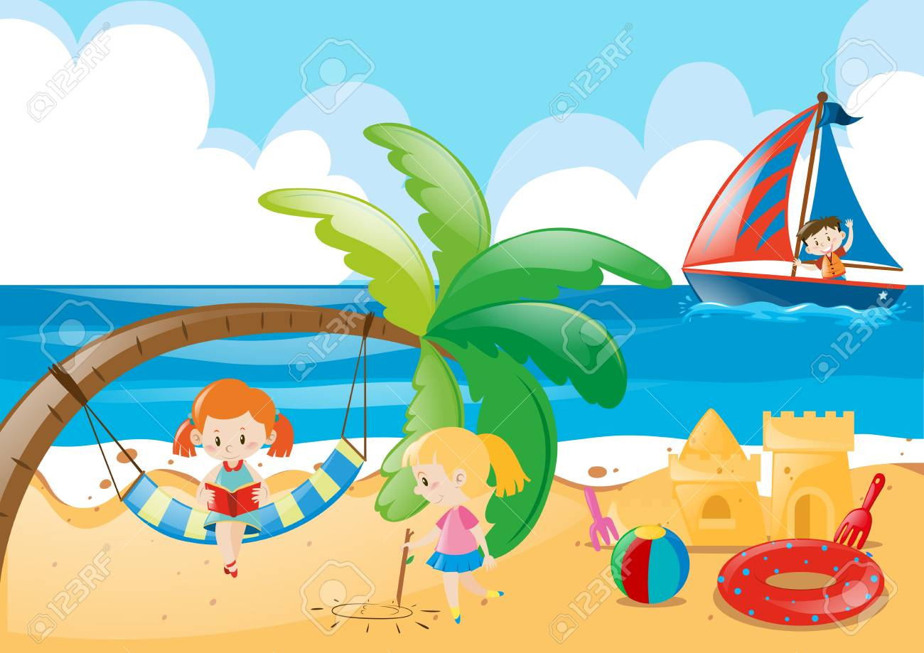 Beach scene with kids playing illustration.
