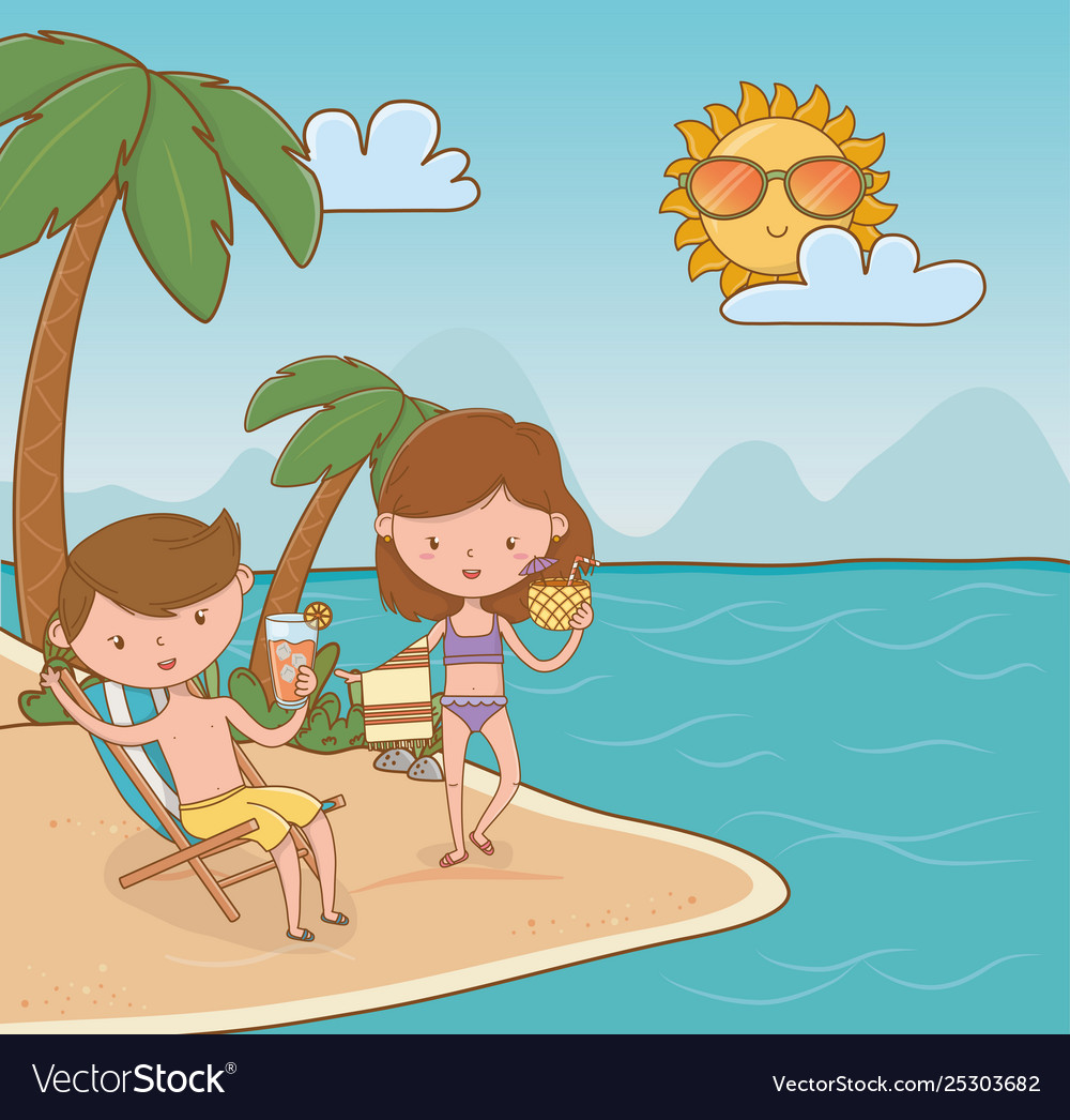 Young couple on beach scene.