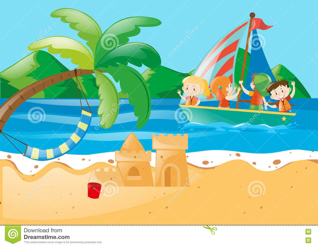 Beach Scene Stock Illustrations.