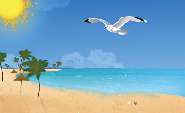 Beach Scene Cliparts.