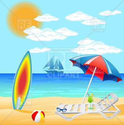 Sea beach with deck chair and sunshade.