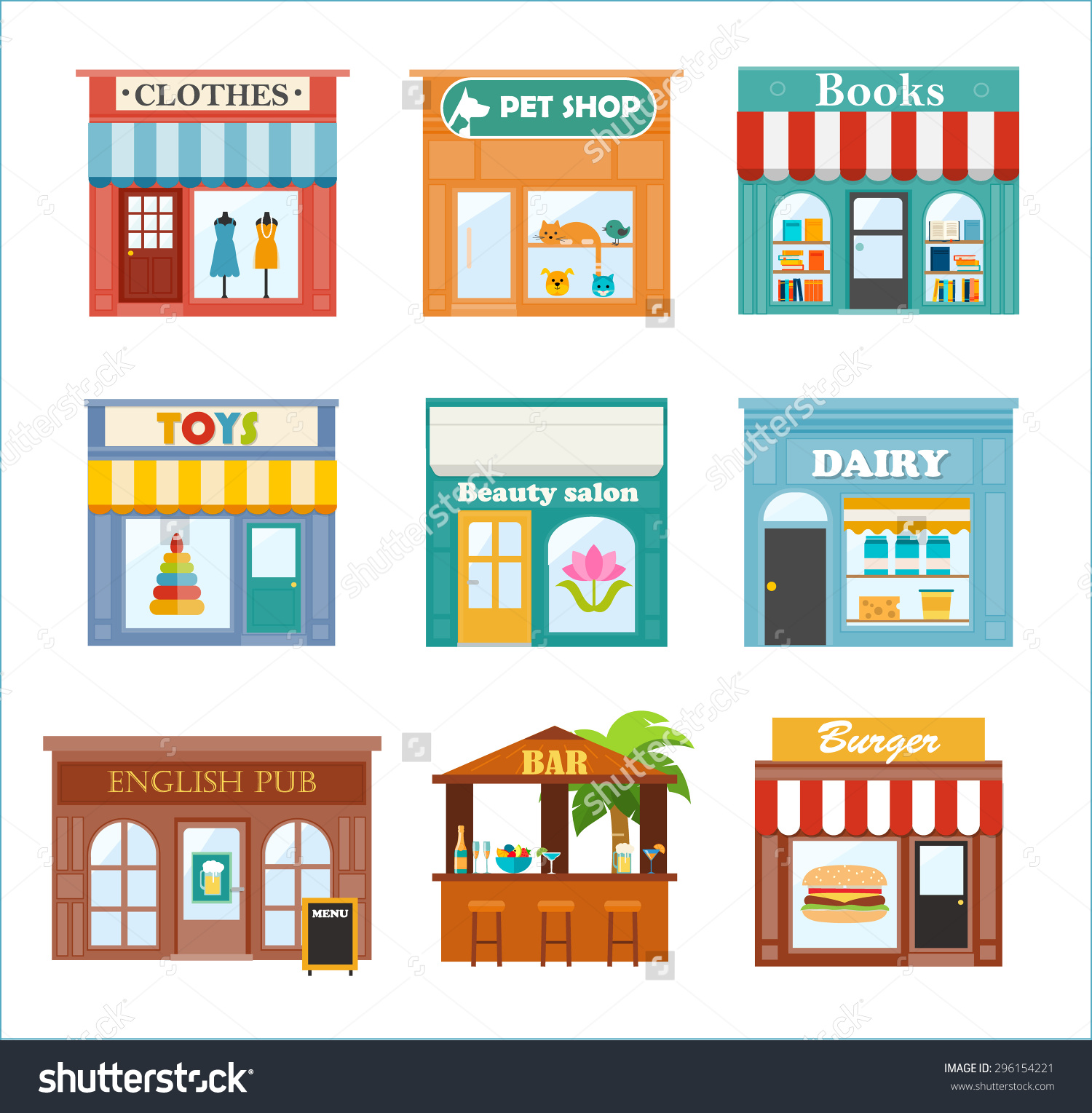 Stores Shops Icons Set Clothes Store Stock Vector 296154221