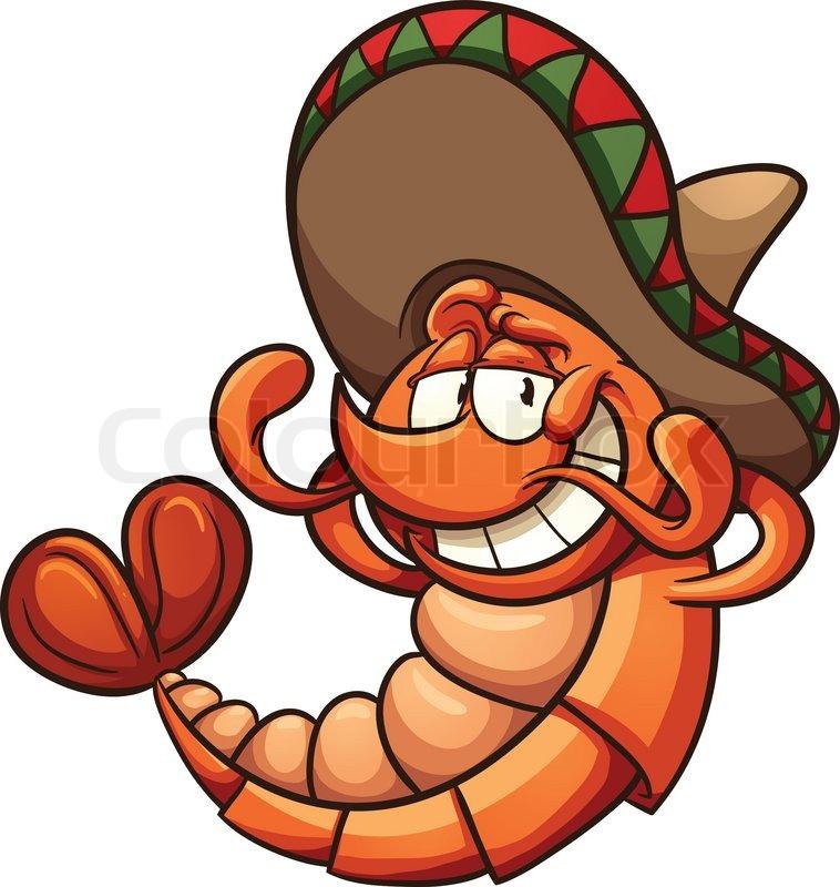 Cartoon Mexican shrimp relaxing. Vector clip art illustration with.