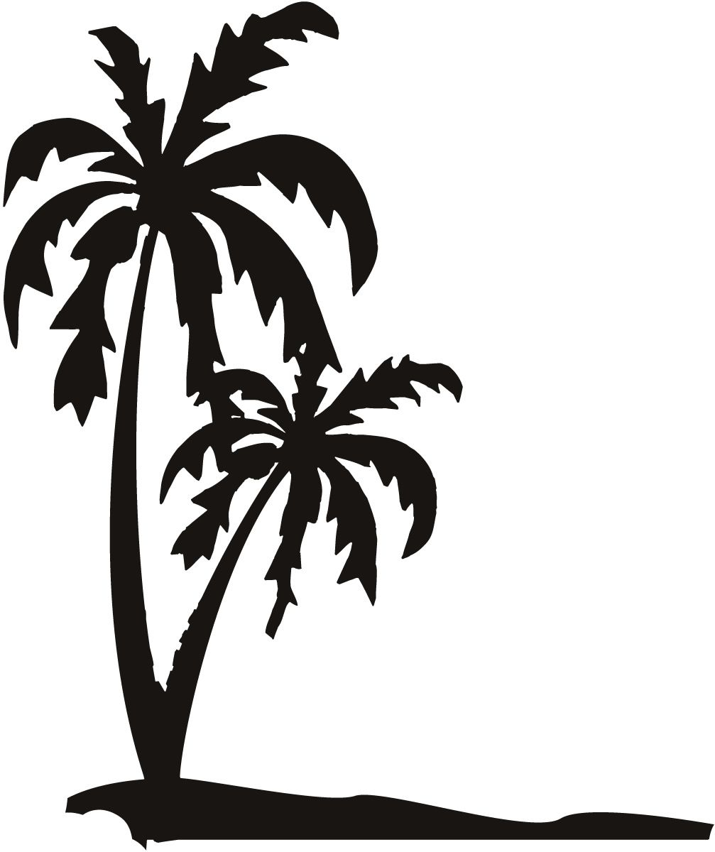 Palm Trees on The Beach Sand Wall Art Decals Wall Stickers.