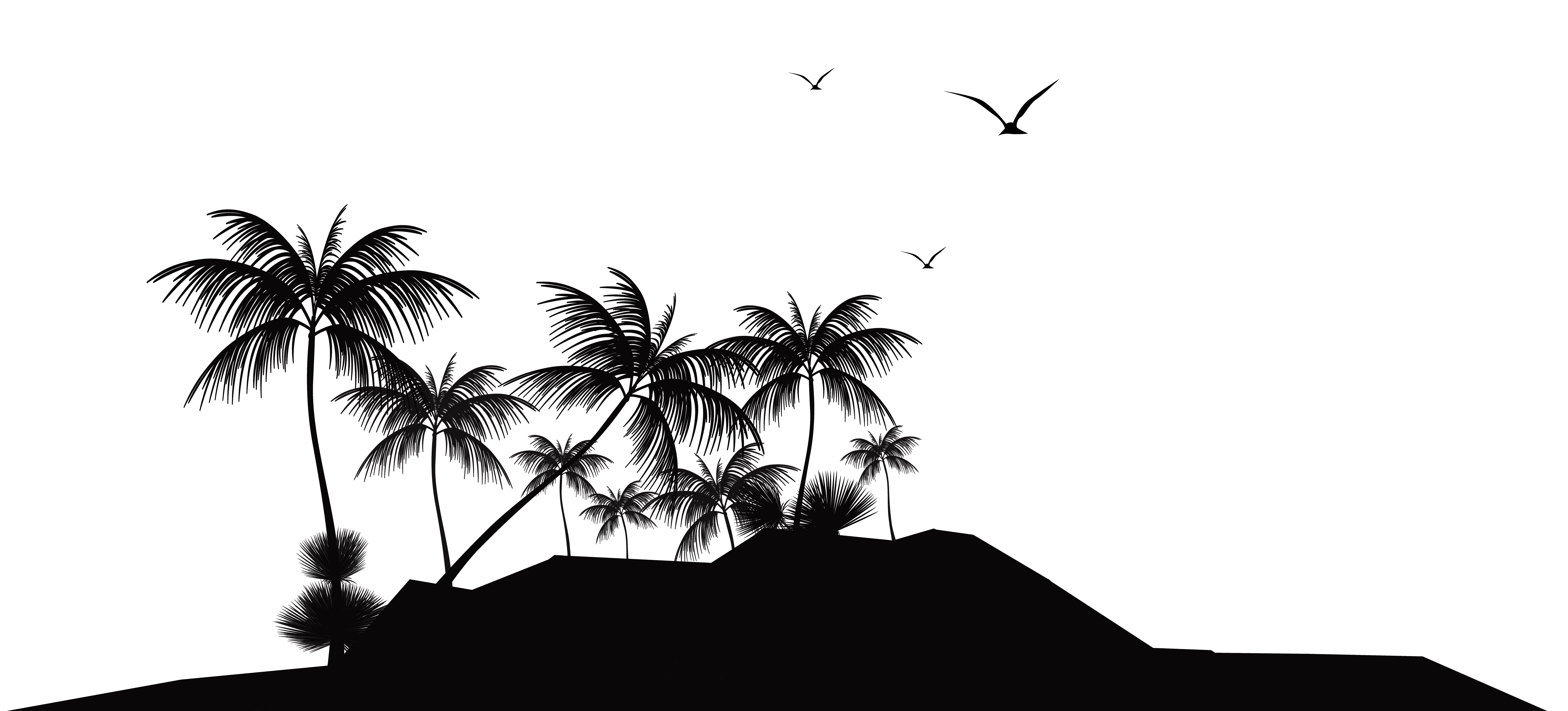 Tropical Island Silhouette PNG Clip Art.