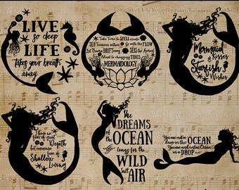 Mermaid silhouette clipart.