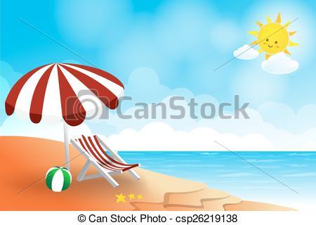Vectors of Beach landscape sea sun sky and cloud summer abstract.