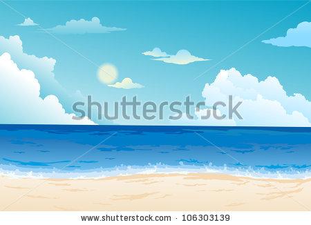 of an ocean and beach under blue cloudy skies in a vector clip art.