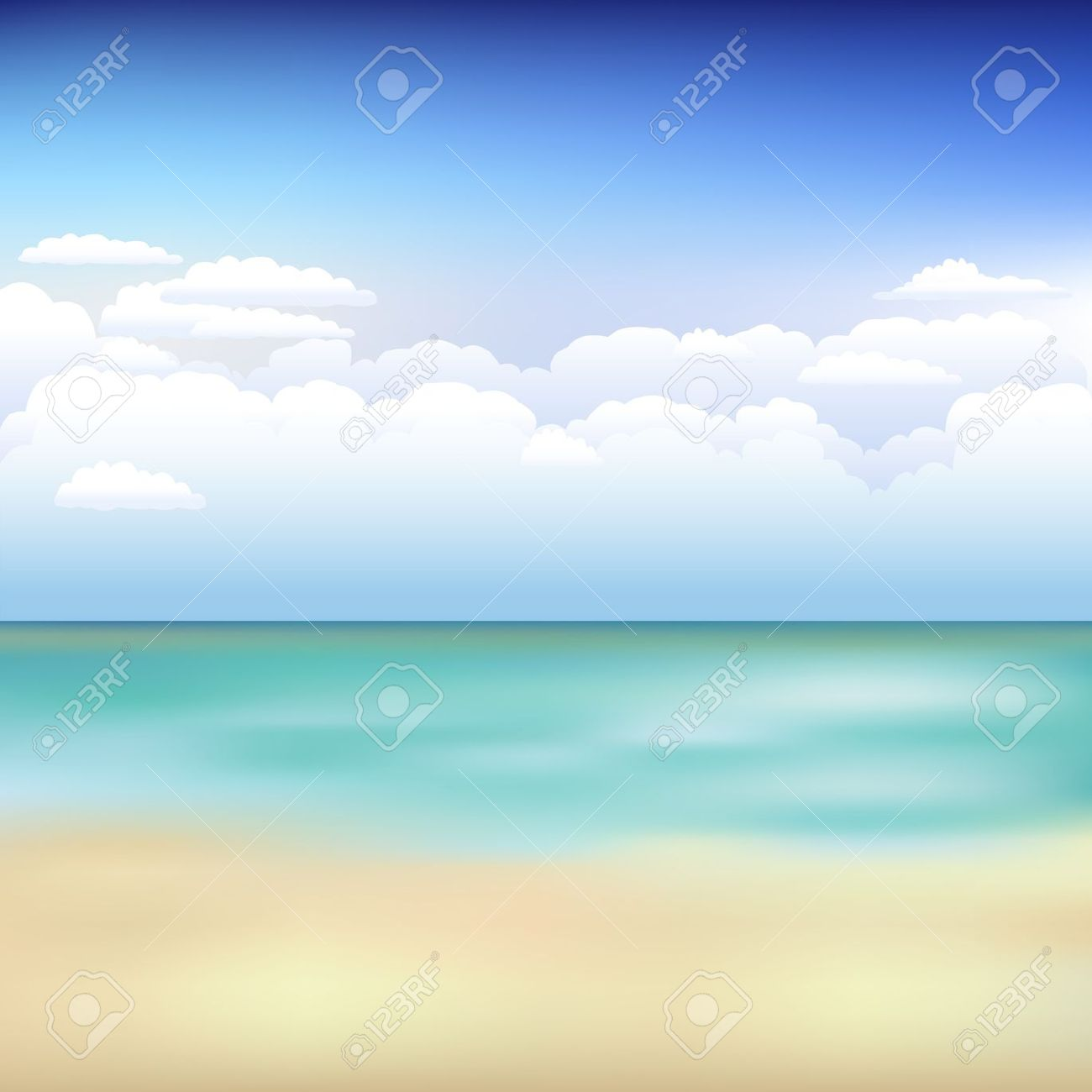 Beautiful Background With Beach, Blue Sky And Clouds Royalty Free.