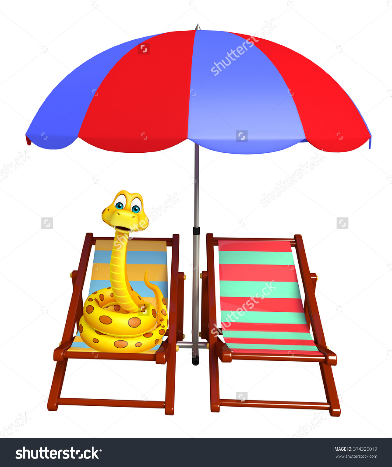 3d Rendered Illustration Of Snake Cartoon Character With Beach.