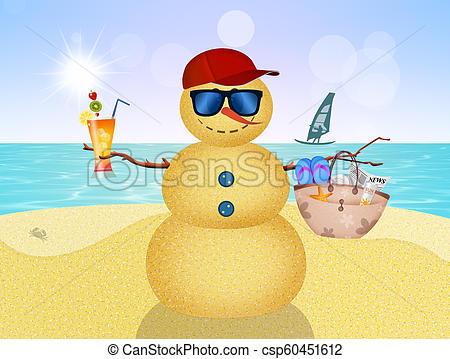 snowman on the beach in summer.