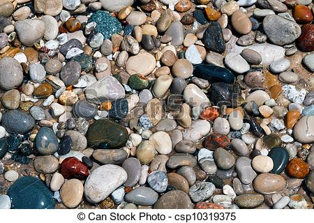 Picture of Wet and Colorful Beach Stones.
