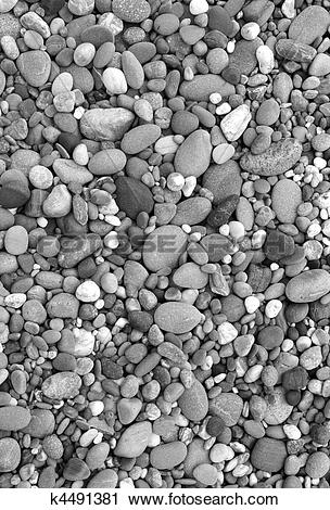 Stock Photography of Lots of beach stones in black and white.