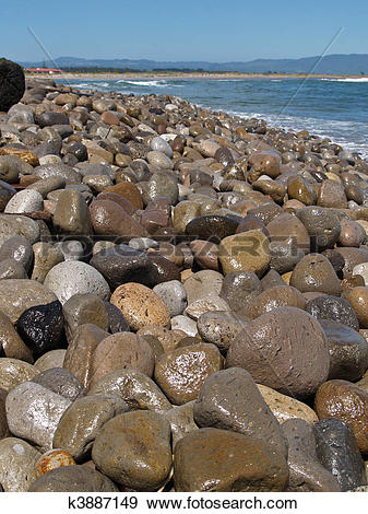 Stock Photograph of Beach stones. k3887149.