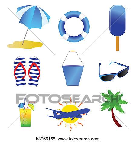 Beach stuff vector Clipart.