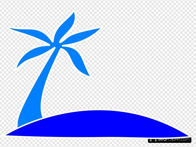 Blue Palm Tree Beach W/sun Clip art, Icon and SVG.