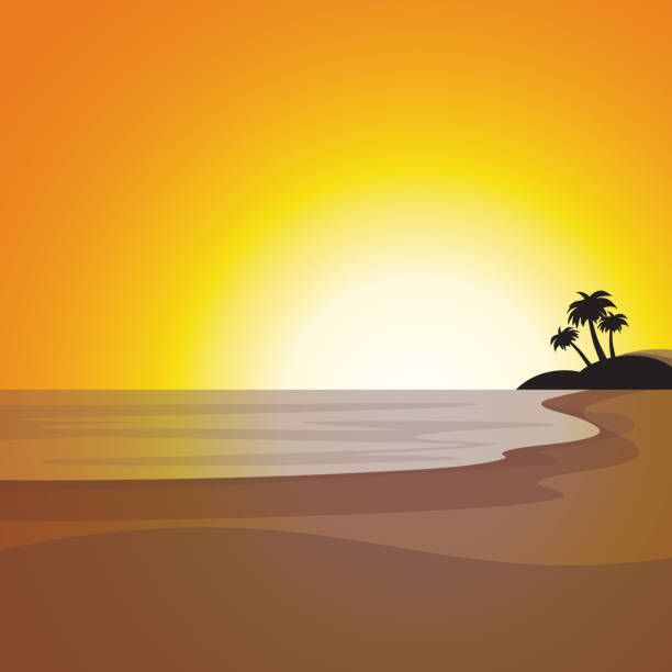 Best Sunset Beach Illustrations, Royalty.