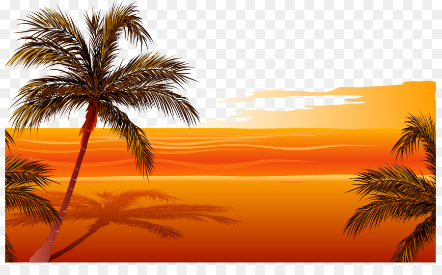 Download Free png Beach Sunset Drawing Clip art Vector sunset beach.