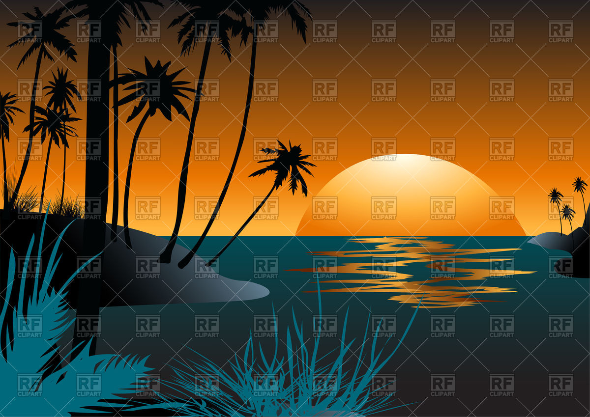Hawaiian beach with palm trees at sunset Stock Vector Image.