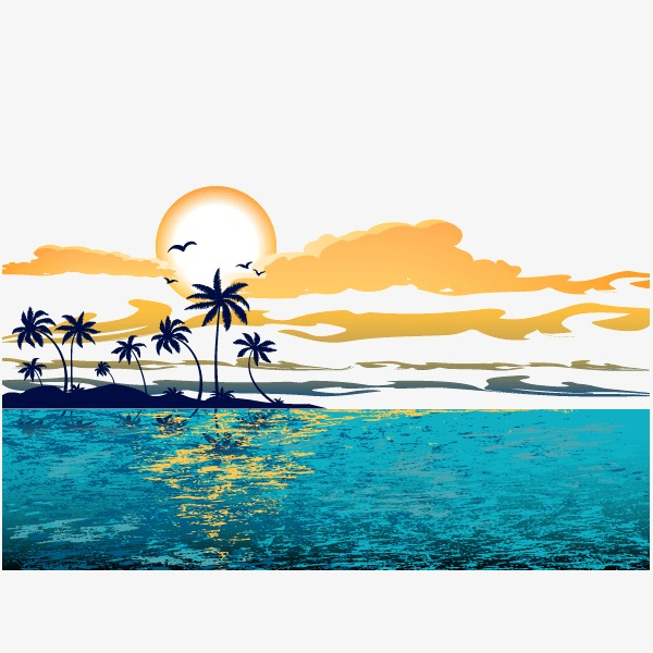 Great Wave Sunset Background Decoration, Wave, Sandy Beach, Sunset.