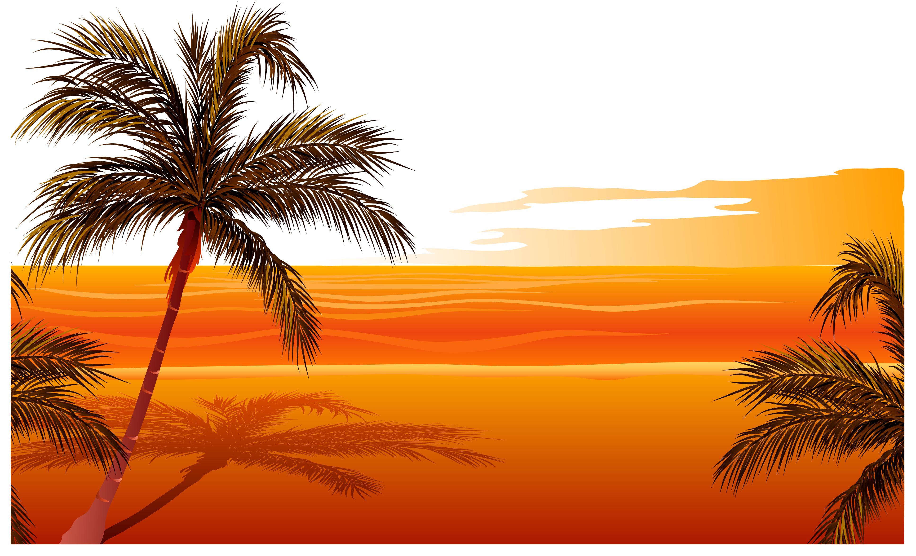 Beach Sunset Drawing Clip art.