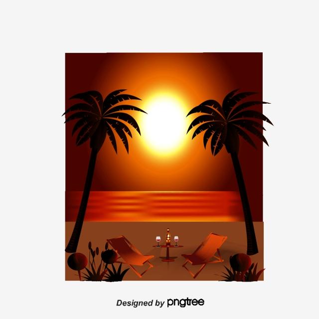 Vector Illustration Beach Sunset, Beach Vector, Sunset Vector.