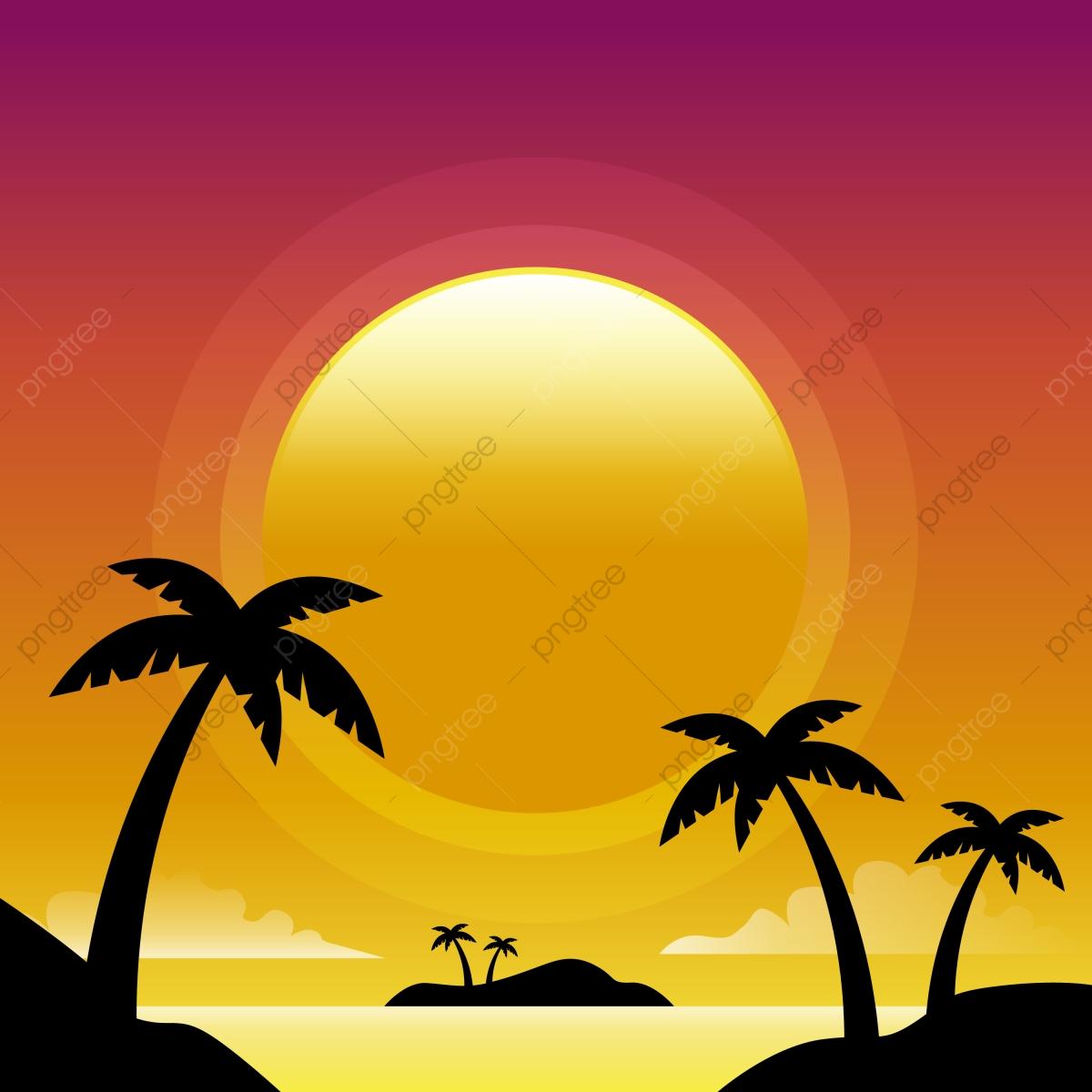 Sunset Beach Vector Background, Sun Clipart, Sun Star, Planet PNG.