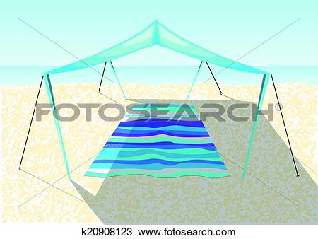 Clipart of beach tent on a sand k20908123.