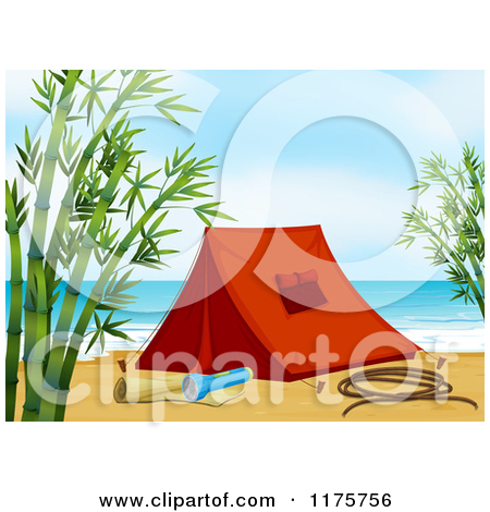 Cartoon of a Tent and Camping Gear on a Beach with Bamboo.