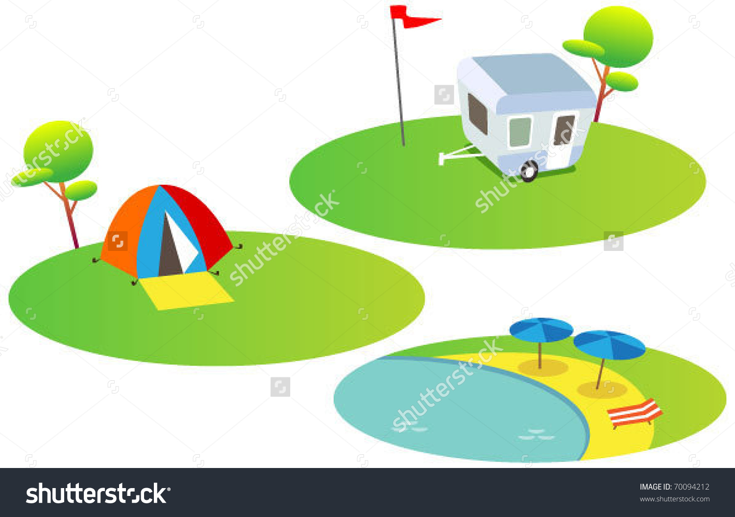 Funny Map Elements: Trees, Camping, Tent, Beach. (Set 6) Stock.