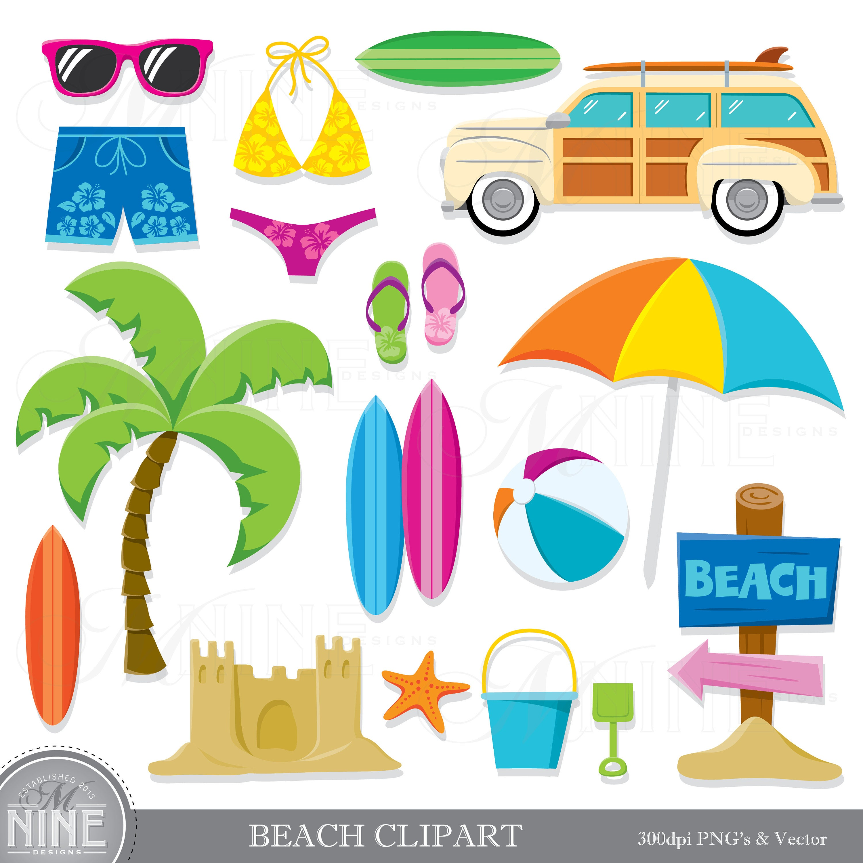BEACH Clip Art / Beach Theme Clipart Download / Summer Beach Party Clip  Art. Vector Beach Clip Art Surfing Scrapbook Clipart.