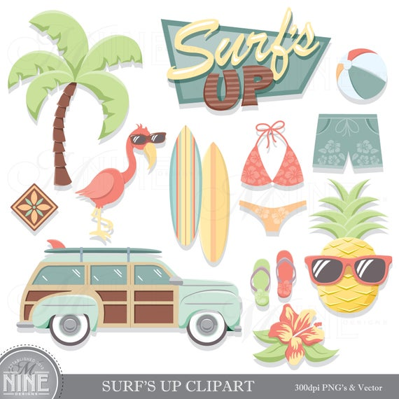 Vintage Beach Clip Art / SURFING THEME Clipart Downloads / Summer Beach  Party Clip Art, Vector Clip Art, Palm Tree Clipart Pineapple Clipart.