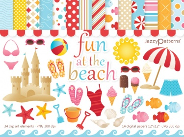 Fun At The Beach clip art and digital papers kit.