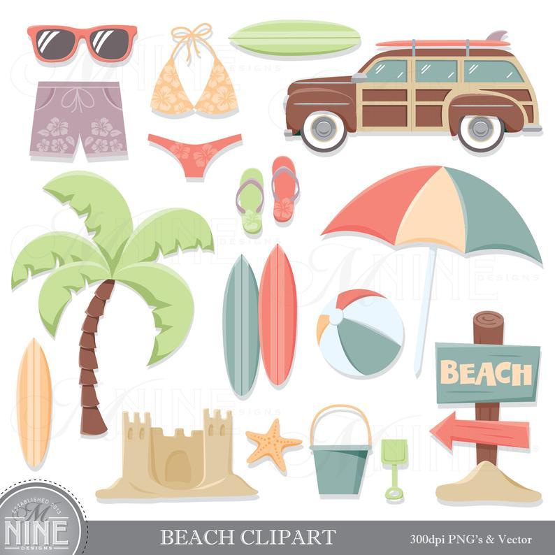 Vintage BEACH Clip Art / Beach Theme Clipart Download / Retro Summer Beach  Party Clip Art. Vector Beach Clip Art Surfing Scrapbook Clipart.