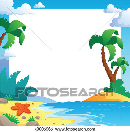 Beach theme frame 1 Clipart.