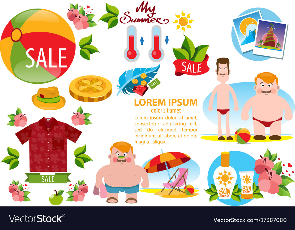 Beach theme people sea summer items clothing and.