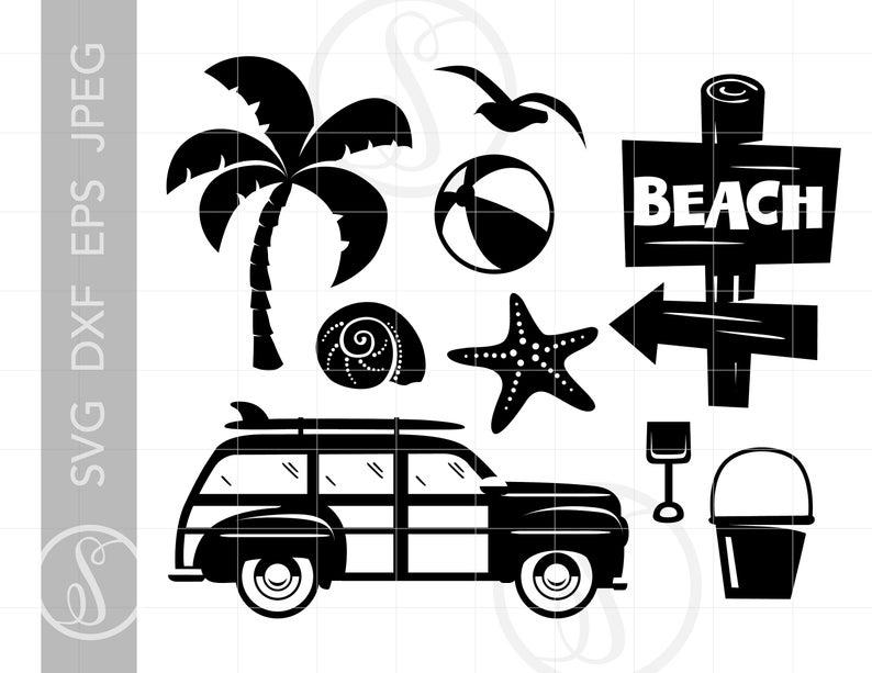 BEACH Svg Cut File Clipart Downloads.