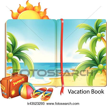 Vacation on the beach theme in the book Clipart.