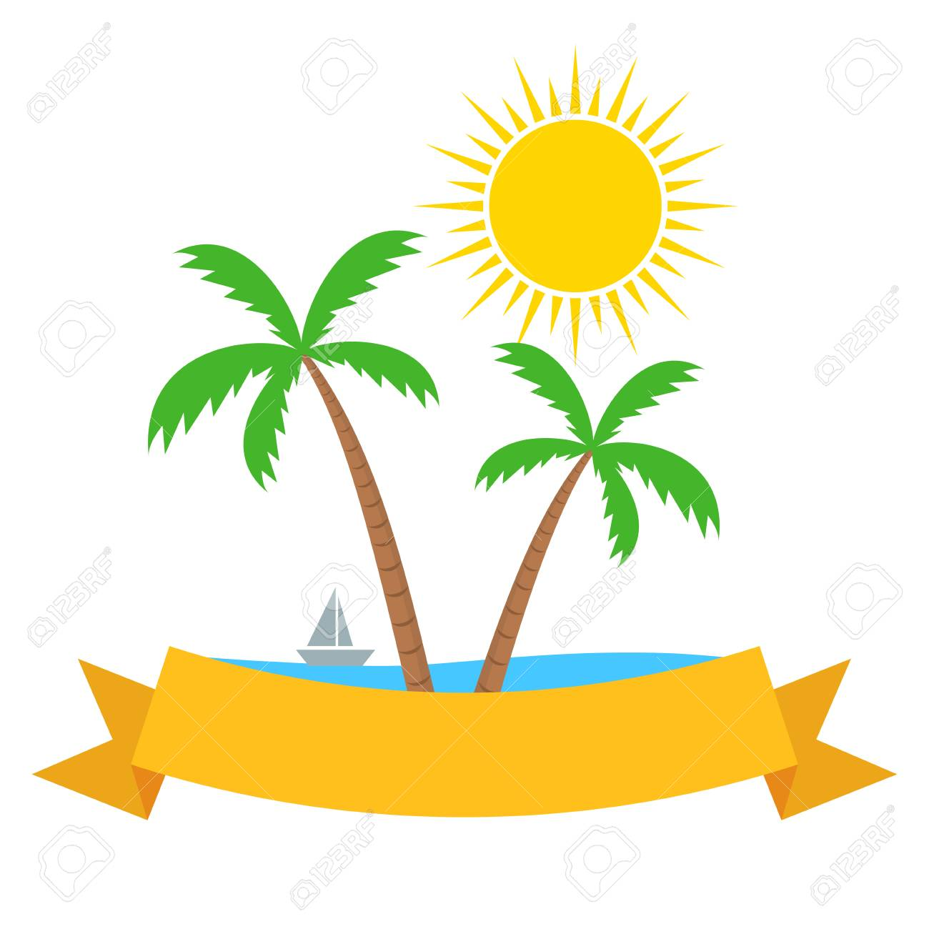 Tropical summer beach themed banner template with palms trees.
