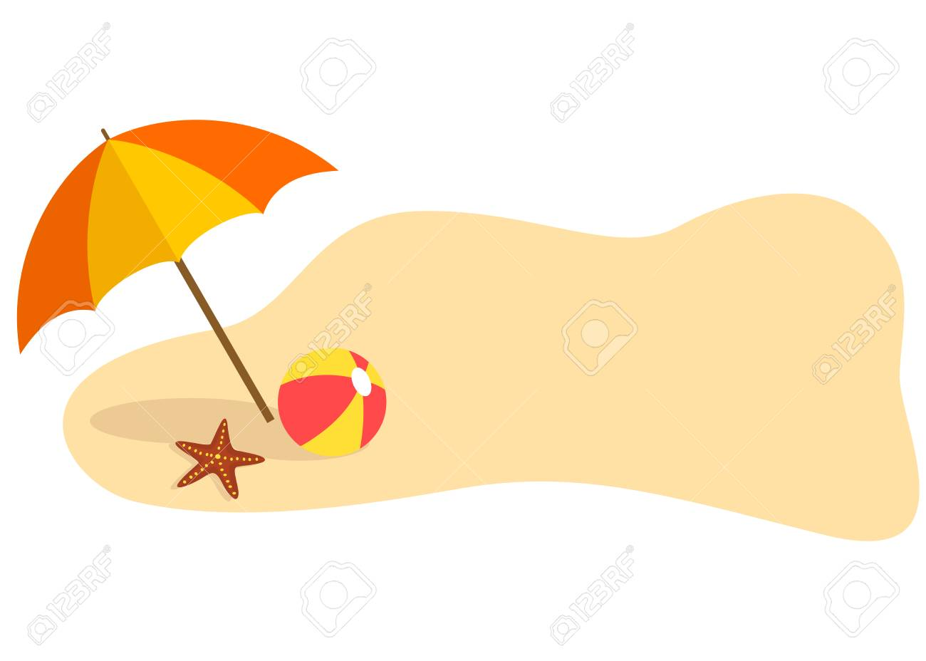 Summer beach themed banner with umbrella and ball.