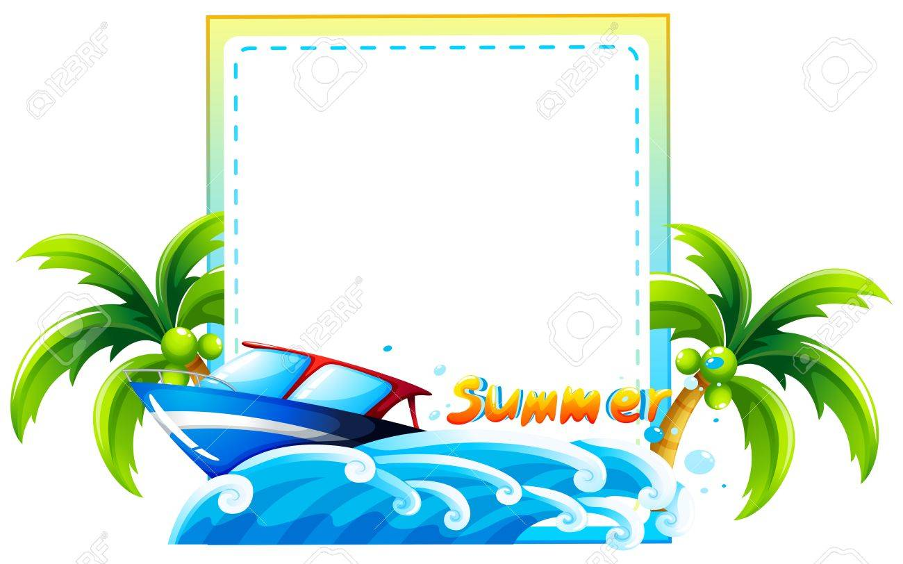 Frame of summer theme with beach and boat.