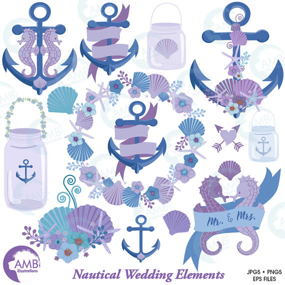 Nautical Clipart Shabby Chic Beach Wedding Clip Art Nautical.