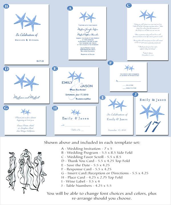 Beach Theme Wedding Invitation Printable Set.